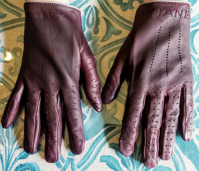 CHANEL Gloves Ladies Lambskin Leather Burgundy,signed Chanel!
