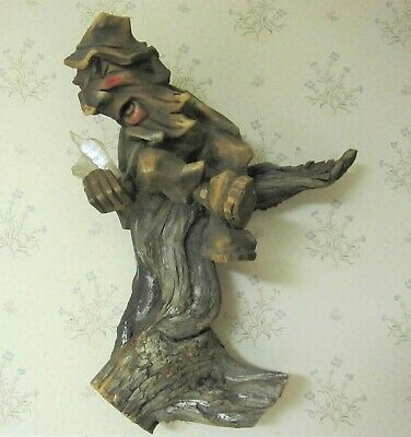 Rare Antique Carved Wood Gnome With Crystal Hanging Figure Carving Black Forest?