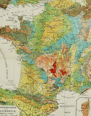 1897 Antique geological map of FRANCE. Geology. 123 years old chart