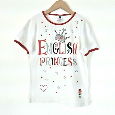 Girls England Rugby T-shirt 7-8 Years English Princess Official Merchandise