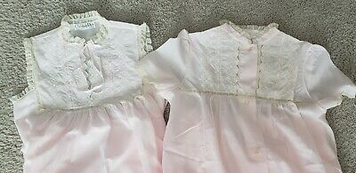 (2) Vtg CHRISTIAN DIOR pink Cotton NIGHTGOWNS lace embroidery eyelets MED