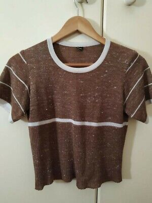 Genuine 70's Vintage  Fitted Fine Knit Top - Brown & Cream European  Quality