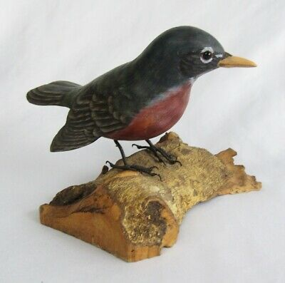 Vintage Carved Hand Painted Wood Robin Bird Perched on Driftwood Figurine