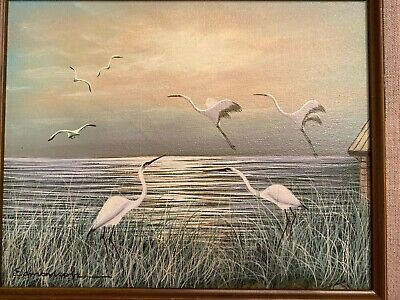 Stunning Vintage Egrets By The Ocean Painting By Edmonson Framed