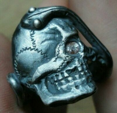 Unique Ancient Roman Military Legionary Silver Ring Skull Circa 57 Bc - 260 Ad