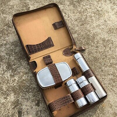 """5pc GROOMING KIT """"Brown & Silver"""" Lovely Vintage Toiletries Set in Case (1950's)"""