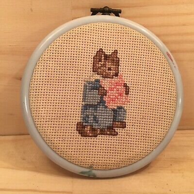 """LITTLE MISS MOUSE """"Blue"""" Small Completed Cross Stitch in Embroidery Hoop"""