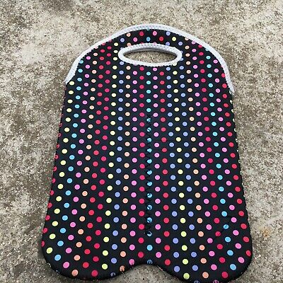 "RAINBOW SPOTS ""Black"" Neoprene Bottle Carry Bag Soft Drink Water Cooler Bag"