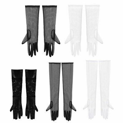 Stretchy Lace Tulle/Patent Leather Mesh Full Finger Long Gloves Mittens 13-21in
