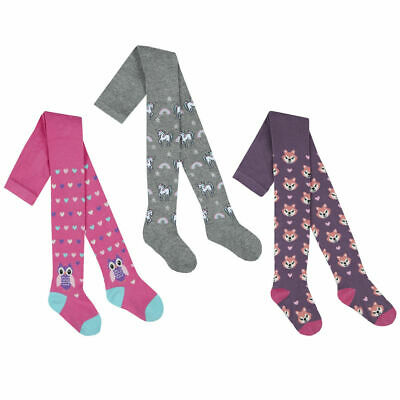 Girls Cotton Rich Tights 3 Pairs Patterned Soft Animal Design Striped 2-8 years