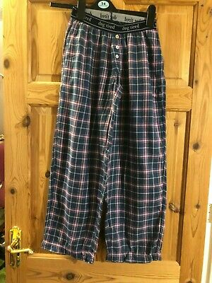DOG TIRED Kids Navy/Pink Checked Organic Cotton Pyjama Bottoms 10-11yrs