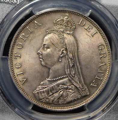 Great Britain 1889 Double Florin PCGS MS64 gorgeous incandescent toned PC0383 co