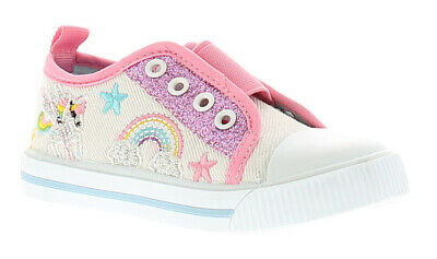 Chatterbox Dreamer Girls Kids Canvas Shoes Pumps Trainers White/Pink UK Size