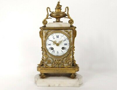 Pendulum Louis XVI Marble White Bronze Golden Knot Napoleon III Clock 19th