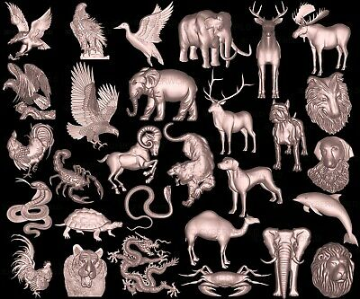 29 Pieces LOT 3D STL Models of ANIMALS set, for CNC Artcam relief Aspire Printer