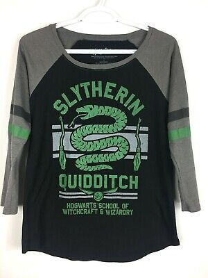 Harry Potter Women's Slytherin Quidditch Team 3/4 Sleeve Black Green Jersey SM