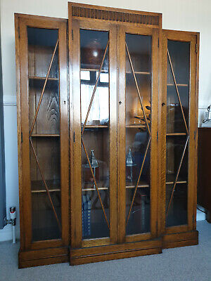 Antique Solid Tiger Oak Glass 1920 1930 Art Deco Breakfront Bookcase Cabinet