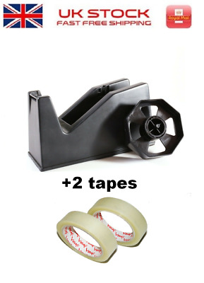 DESKTOP TAPE 25MM DISPENSER Office Desk NonSlip Wrapping Set with 4 Exra Tapes