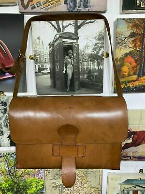 Vintage London Tan Honey Leather Satchel Style Bespoke Briefcase 1930'S