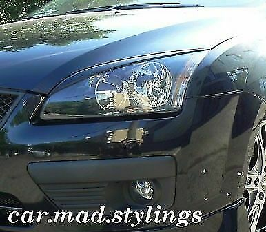 White Plastic Eyebrows to fit Ford Focus MK2 (Eyelids/Kit/Light/Eye Brows ST/RS)