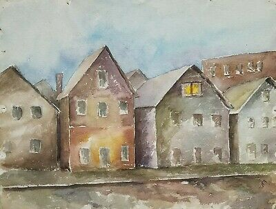 1929 W/C  Painting Depression Era Building Facades, En Verso House, Signed