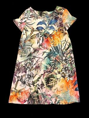 Next Smart Girls Multi coloured Tropical floral Cotton Dress age 12 years
