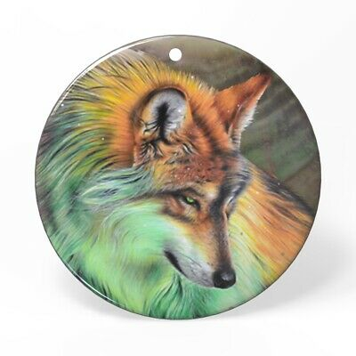 Hand Painted Wolf Shell Necklace Pendant HB12 0056