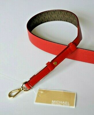 MICHAEL KORS Strap Guitar Handbag Reversible Gold tone hardware Red Leather 42""