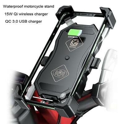 12V Motorcycle QC3.0 USB Qi Wireless Charger phone Mount Holder Stand