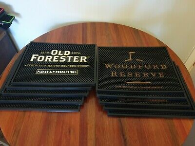 10 X Rubber Bar Drip Mats. 5 x old forester bourbon and 5 x Woodford reserve
