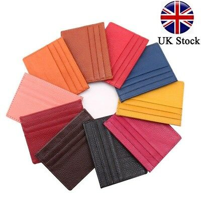Mens Womens PU Leather Small ID Credit Card Wallet Holder Slim Pocket Case UK *