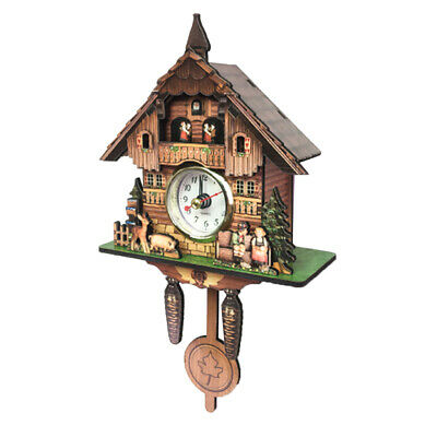 Vintage Style Decorative Clock Hanging Wood Cuckoo Clock Farmhouse Home Décor J