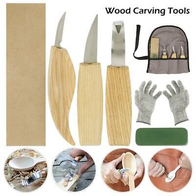 6Pcs/Set Wood Carving Knife Chisel Woodworking Whittling Cutter Chip Hand Tools~