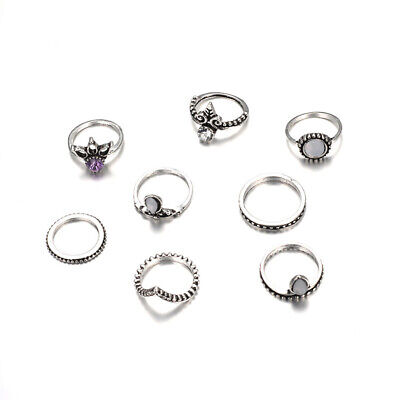 8PCS Silver Boho Stack Plain Above Knuckle Ring Midi Finger Tip Rings Set Women