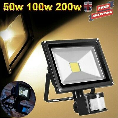 100W LED Security Flood Light Outdoor Garden PIR Motion Sensor Floodlight Black