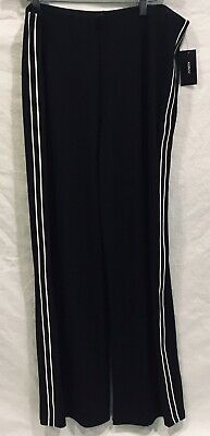 NWT ALFANI for Macy's Size L Womens Wide Leg Stretch Black Pants w/ White Stripe