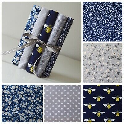 Bumble Bee Fabric Fat Quarter Bundle 100% Cotton Sewing Navy Grey Quilting