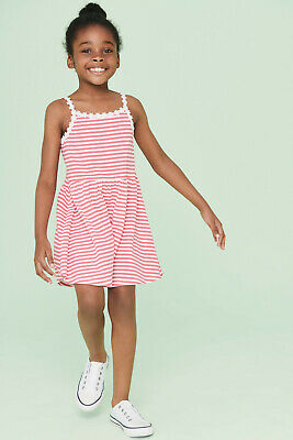NEXT Girls Red Striped 100% Cotton Strappy Summer Dress Age 12,13,14,15 Yrs BNWT
