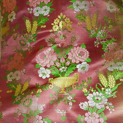 Antique 19thc French Floral Silk Brocade Jacquard Fabric ~ Softened Pink Yellow