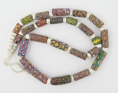 Venetian millefiori glass African trade beads necklace (23)
