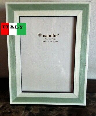 NATALINI WOOD PICTURE FRAME New BROWN BLACK TRIM 5x7 Made In Italy