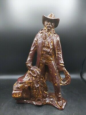 Rustic Hand Made Luster Glazed Ceramic Cowboy 14.5 Statue Figurine