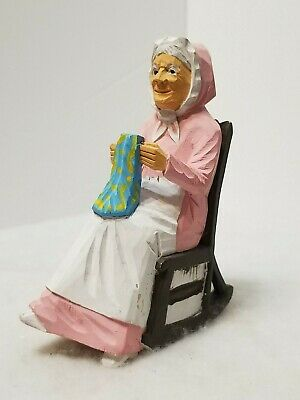 Vintage Hand Carved Hand Crafted Wooden Little Old Lady On Rocking Chair 5.5""