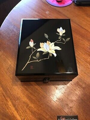 Japanese Lacquer wooden box- Hand Painted with drawer