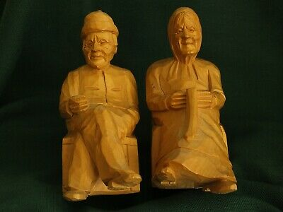 Vintage, Rare Wood Folk Art Hand Carved Figurines by Andre Bourgault