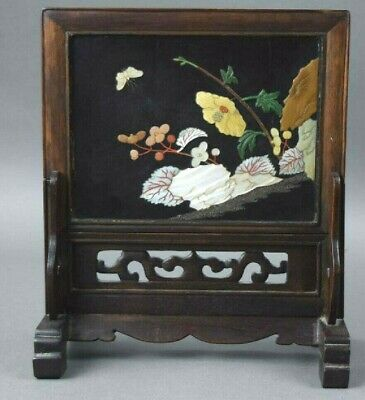 Chinese mother of pearl, stones inlaid hardwood table screen