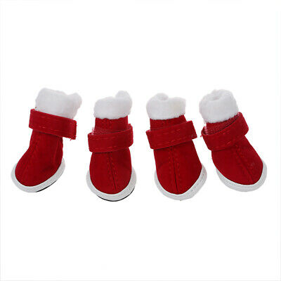 Warm Walking Pet Dog Cozy Shoes Boots Clothes Apparel 1# Red Fit Paws M3V7