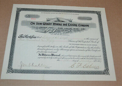 The Stem=Winder Mining and Leasing Company 1909 antique stock certificate