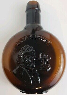 "Vtg MUSEUM EDITIONS LTD Brown Glass Decanter Bottle of ELIAS HOWE - 7""H"