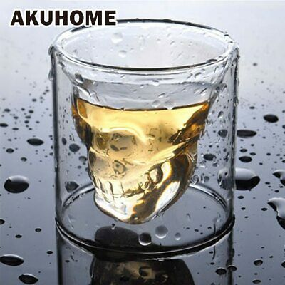 3 sizes Two way Transparent Crystal Skull Head Glass Cup For Whiskey Wine Vodka